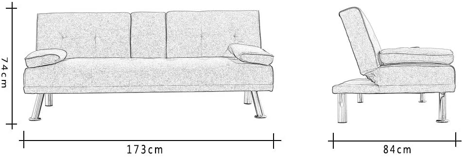 Wellgarden Modern 3 Seater Sofa Bed