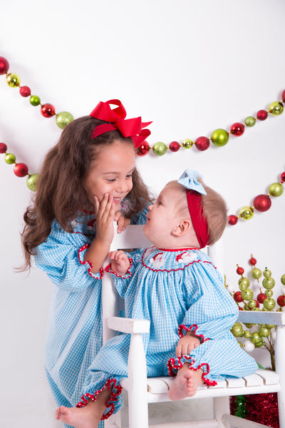 Hand Smocked Santa Faces Turquoise Gingham Girl's Bishop Dress