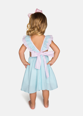 Seersucker Girls Open Back Dress