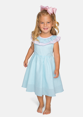 Seersucker Girls Ruffle Dress