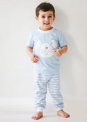 Boy's Applique Bunny Blue Striped Easter Loungewear