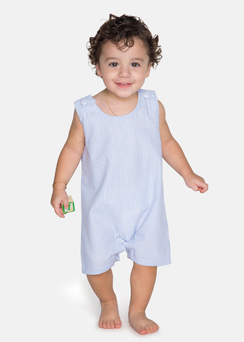 11-S19 Seersucker Light Blue Boy's Shortall