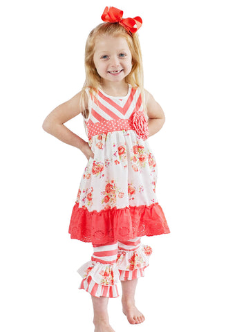 Girl's Coral Garden Tunic Set