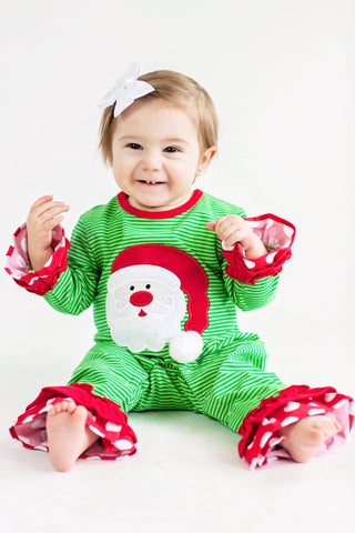 Girls Comfy Applique Santa Baby Romper