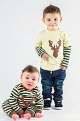 Boy's Applique Deer Long Sleeve Romper