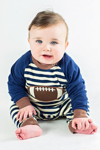 Boy's Applique Football Long Sleeve Romper