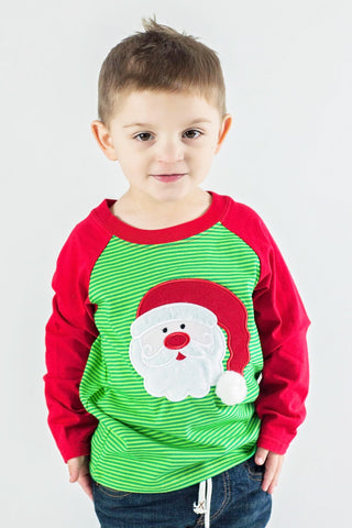 Boy's Applique Santa Long Sleeve T-Shirt