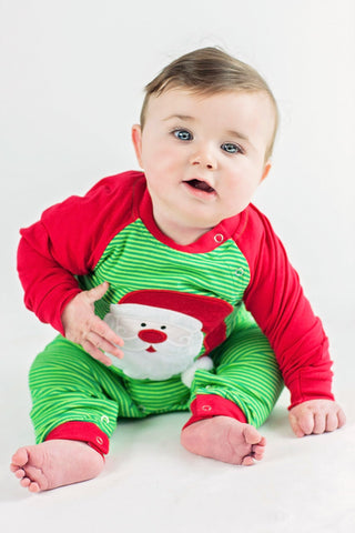 Boy's Applique Santa Long Sleeve Romper