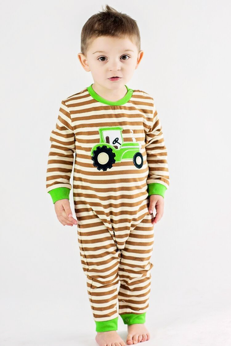 Boy's Applique Tractor Long Sleeve Romper