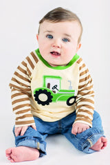 Boy's Monogram Applique Tractor Long Sleeve t-shirt