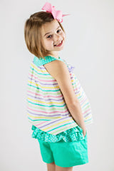 Girl's Stripes and Teal Ruffles Short Set