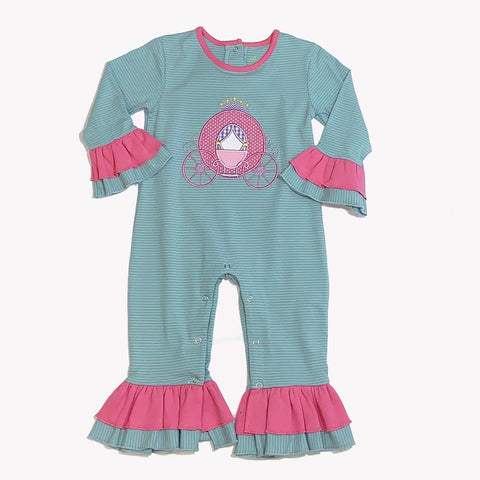 1919 Princess Carriage Applique Girl's Romper