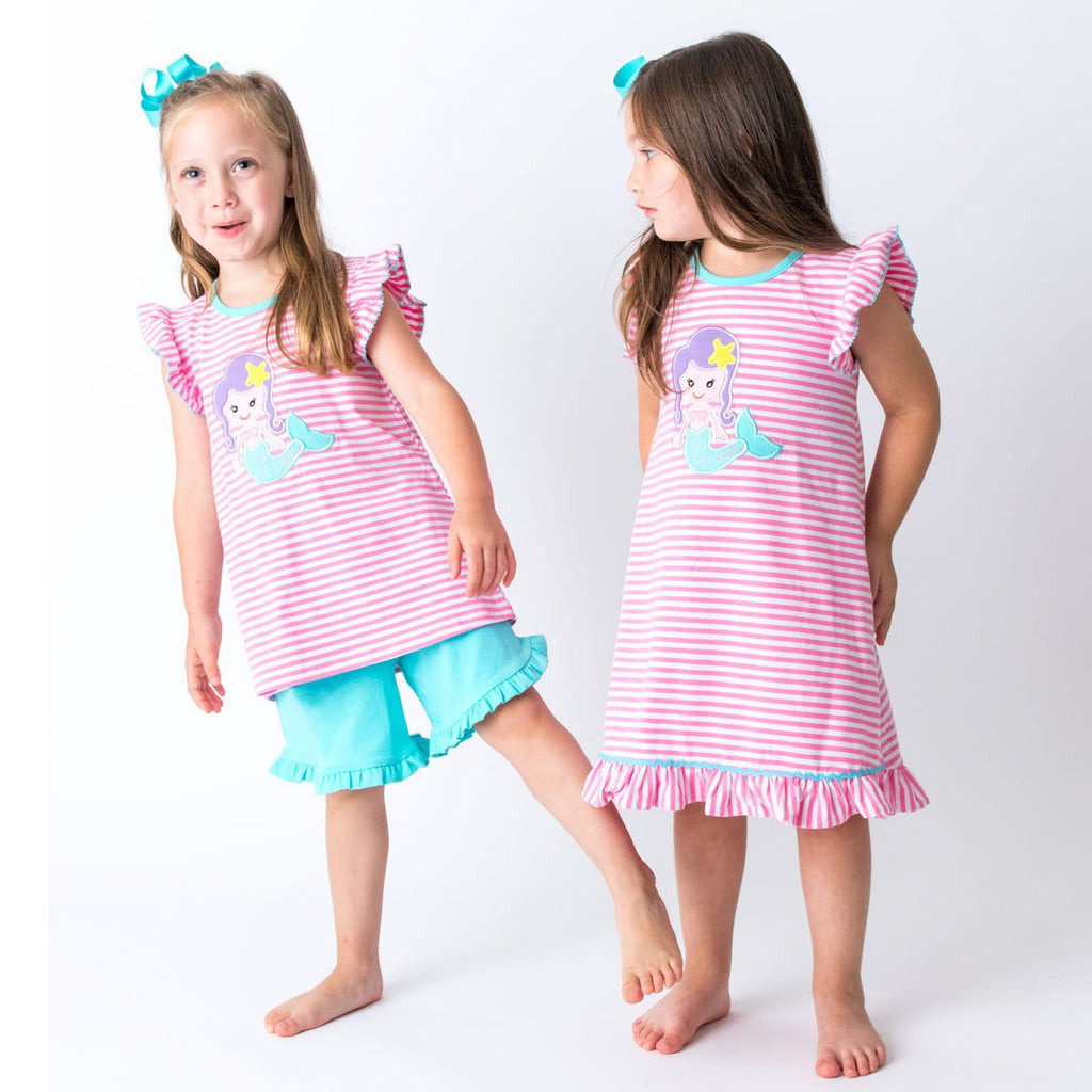 Mermaid Applique GIrl's Dress and Short Set