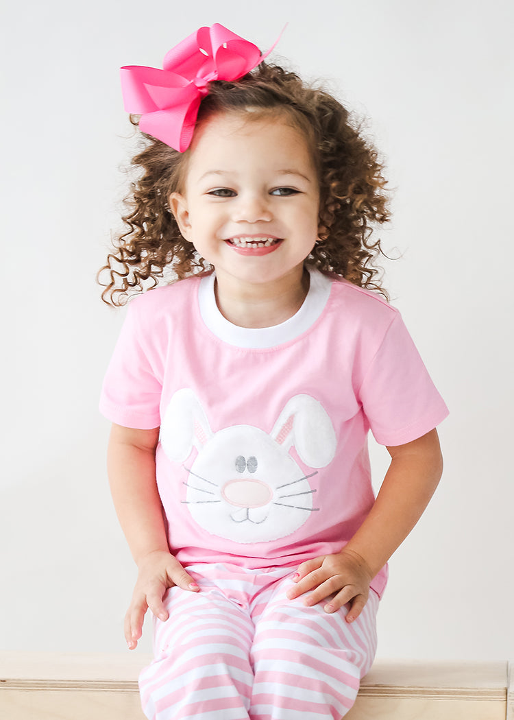 Applique Bunny Pink Striped Girl's Easter Loungewear