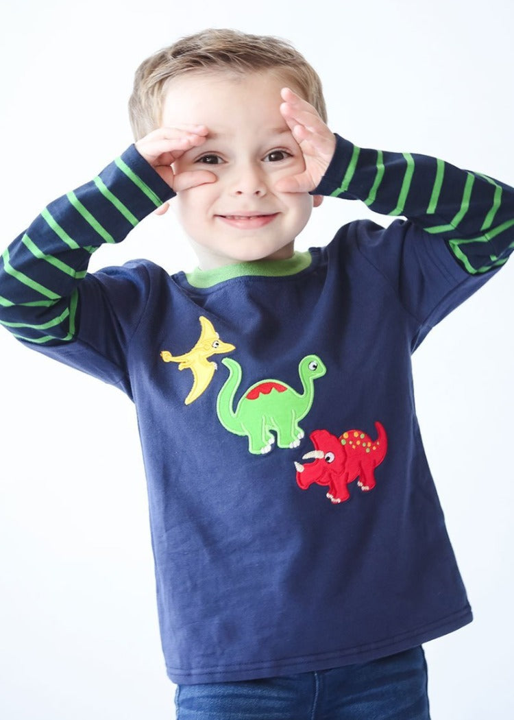 Applique Dinosaur Boy's Shirt