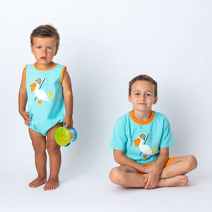 Applique Pelican Boys Short Set and Boys Rom per