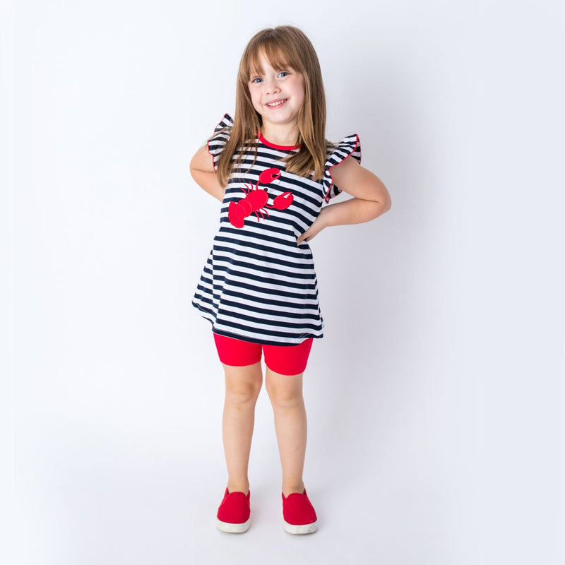 Applique Lobster Girl's Short Set