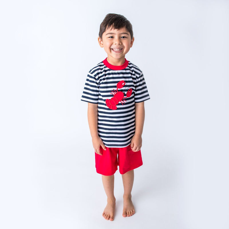 Applique Lobster Boy's Short Set