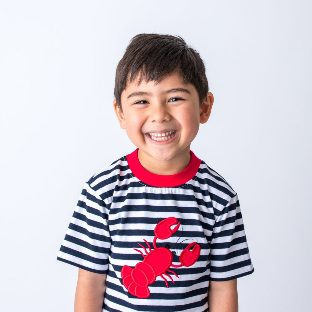 Wholesale Lobster Applique Boy's Short Set