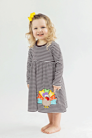 Girls Comfy Applique Turkey Knit Dress