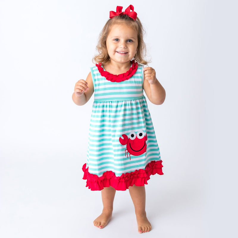 Applique Red Lobster Girl's Dress