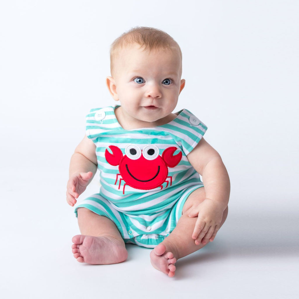 Applique Red Crab Boy's Shortall