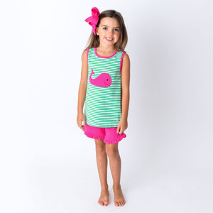 Applique Whale Girl'[s Short Set