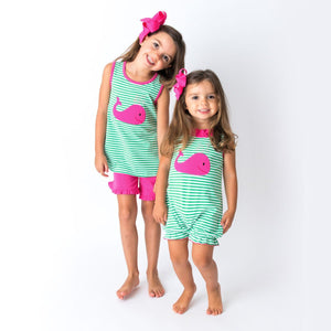 Matching Applique Girls Short Set and Baby Romper