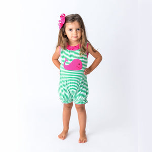 Girl's Romper with Applique Whale