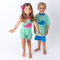 Applique Whale Matching Brother and Sister Outfit.
