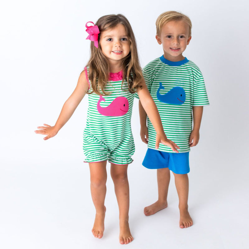 Applique Whale Baby Girl Romper and Boys Short Set