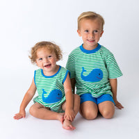 Applique Whale Boy's Bubble and Short Set