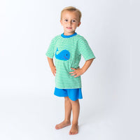 Applique Whale Boy's Short Set