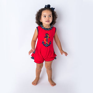 Applique anchor Baby Girl's Romper