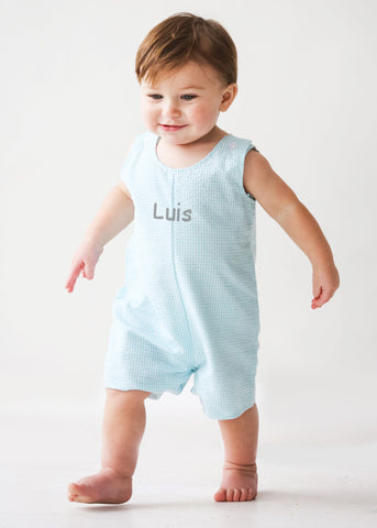 Boy's Mint Seersucker Shortall