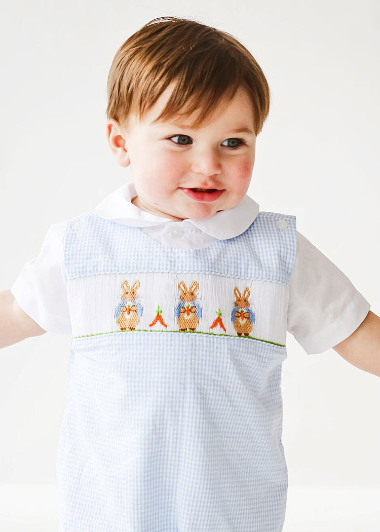 Boy's Hand Smocked Rabbit Easter Overall