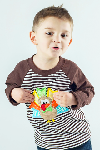 Boy's Applique Turkey Long Sleeve t-shirt