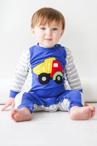 Boy's Applique Truck Long Sleeve Romper