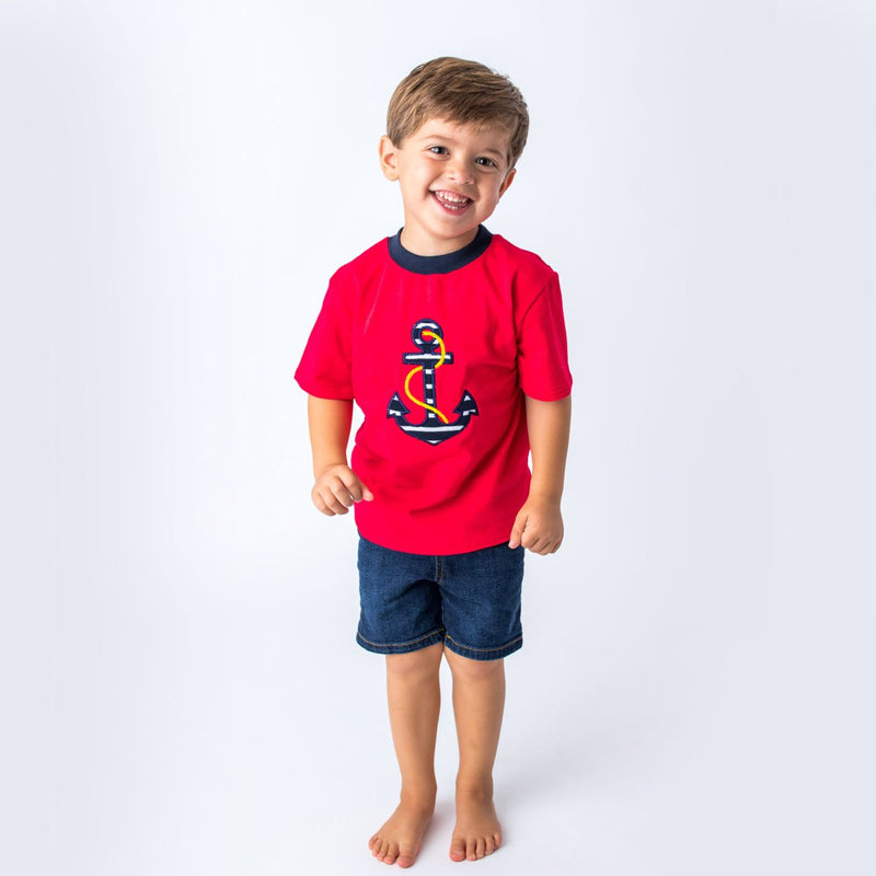Applique Anchor Boy's Short Set