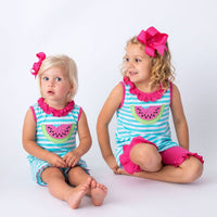 Applique Watermelon Baby Bubble and Girl's Short Set
