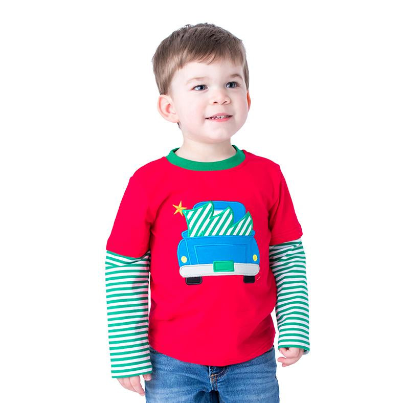 Truck and Christmas tree Applique Boys Shirt