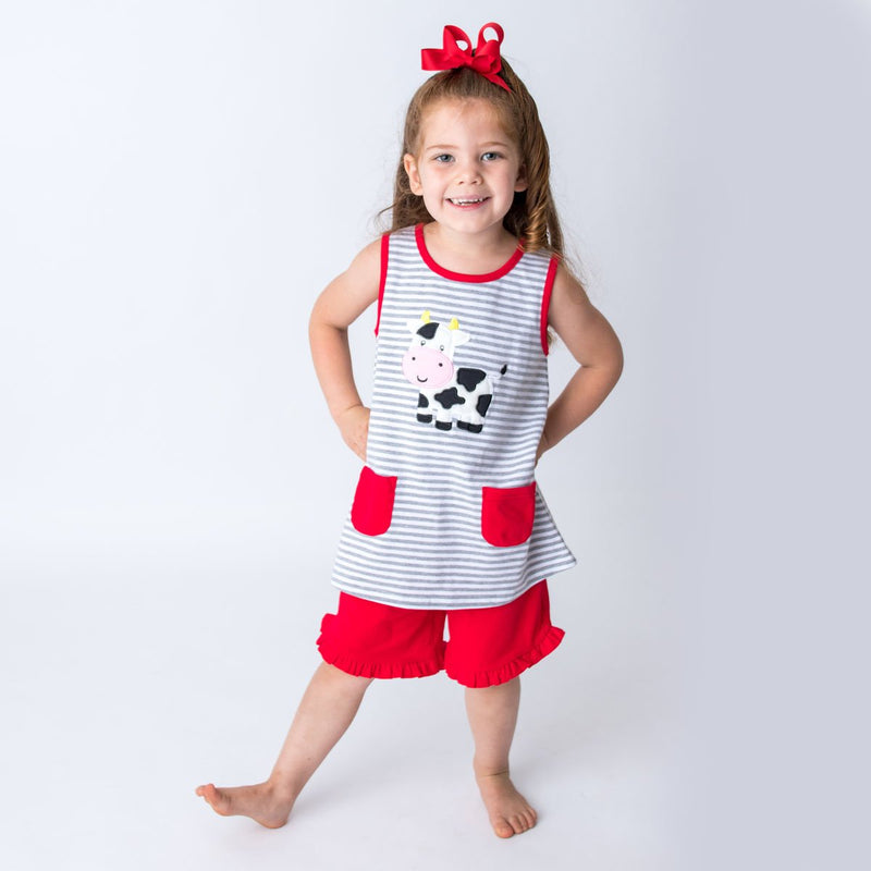 Applique Cow Girl's Short Set