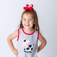 Cow Applique Girl's Short Set