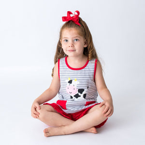 Summer GIrl's Dress with Applique Cow