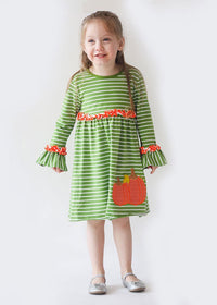 Applique Pumpkin Girl's Dress