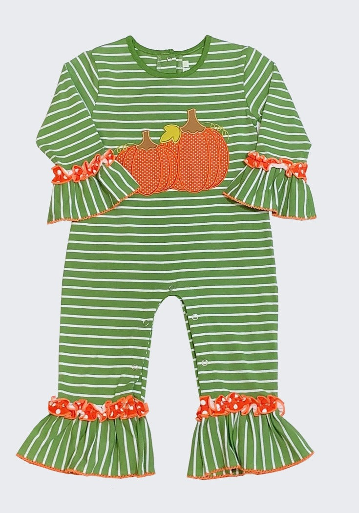 Applique Pumpkin Girls Romper