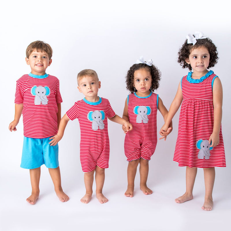 Wholesale Applique Elephant Children 's Clothes
