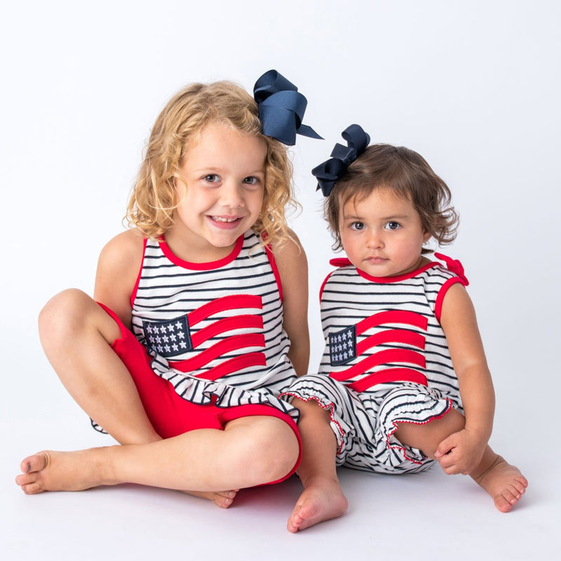 Applique Flag Girls Short Set and Romper