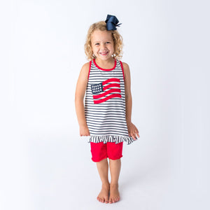 Applique American Flag Girl's Short Set