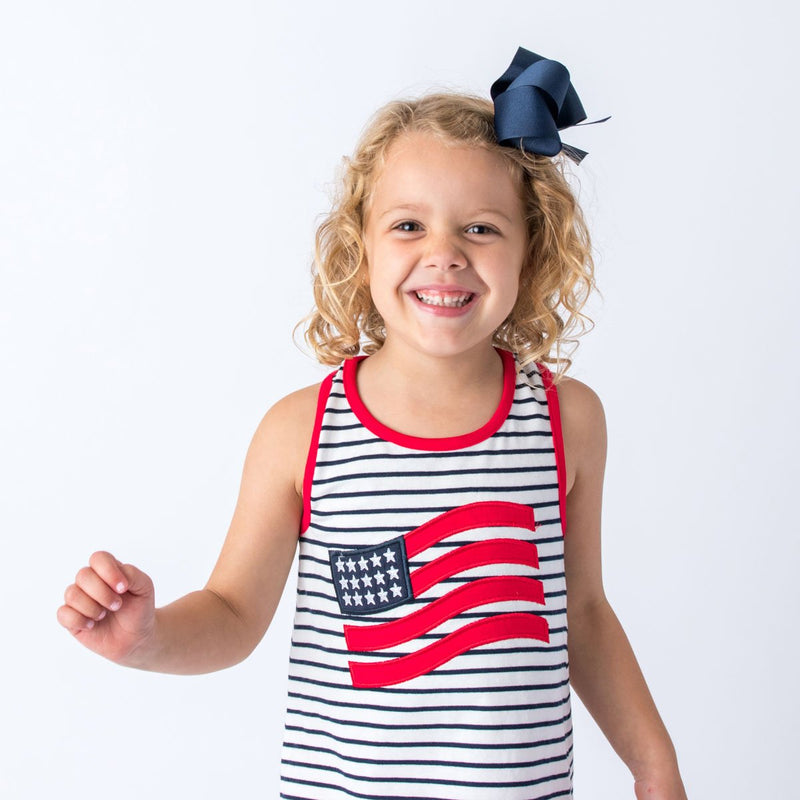 4th of July Applique Flag Girl's Short Set